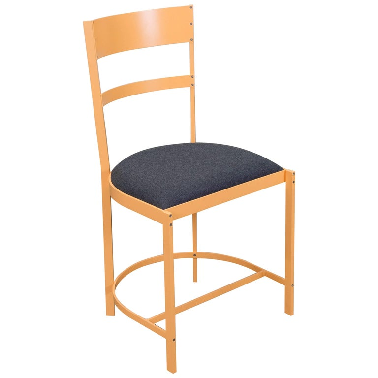 Connect Upholstered Highback Dining Chair in Painted Aluminium Outdoor For Sale