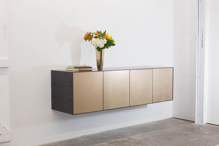 Connect credenza floating console customizable in steel and satin