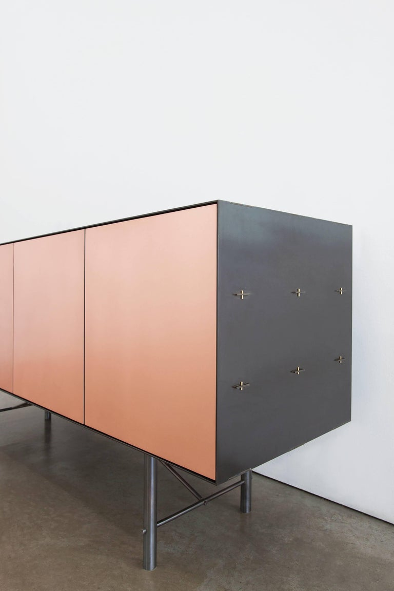 Connect Credenza Cabinet or Sideboard in Customizable Bronze and Steel Patina 2