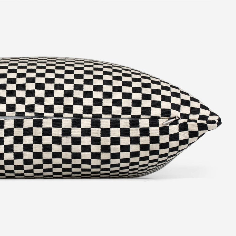 Maharam Pillow Checker by Alexander Girard 008 Black/White  Designed by Alexander Girard for the Herman Miller textile division in 1965, checker is a simple checkerboard design offered in an array of colors. The double-weave construction allows the