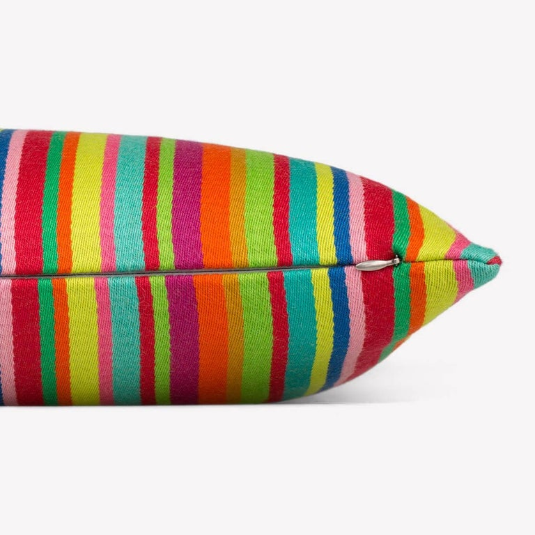 Maharam Pillow Millerstripe by Alexander Girard  001 Multicolored  Girard drew inspiration from his travels to Mexico and India, as well as from his fascination with traditional folk art. First designed for the Herman Miller Textile Division in
