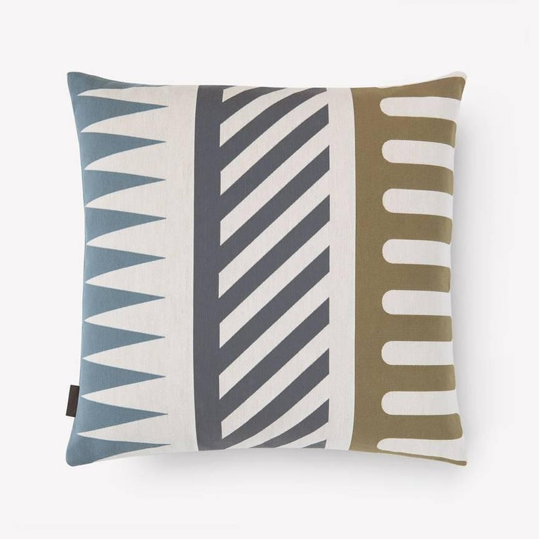 Maharam Pillow Palio by Alexander Girard 002 Sky  Palio by Alexander Girard, 1964 draws its motifs, colors and name from the famous bareback horse race held semi-annually in Siena, Italy. The eight motifs – which include combs, fringes, flames,