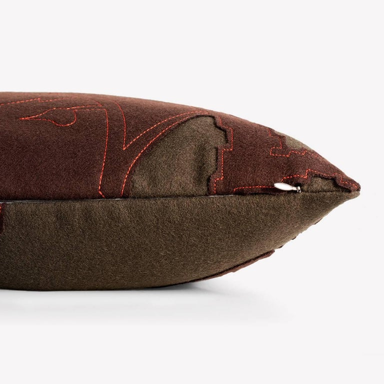 Maharam Pillow Layers Garden Double by Hella Jongerius 002 Earth/Chocolate/Coral  Layers Garden Double combines Hella Jongerius' fascination with the manipulation of traditional manufacturing methods with an exploration of dimensionality. Jongerius