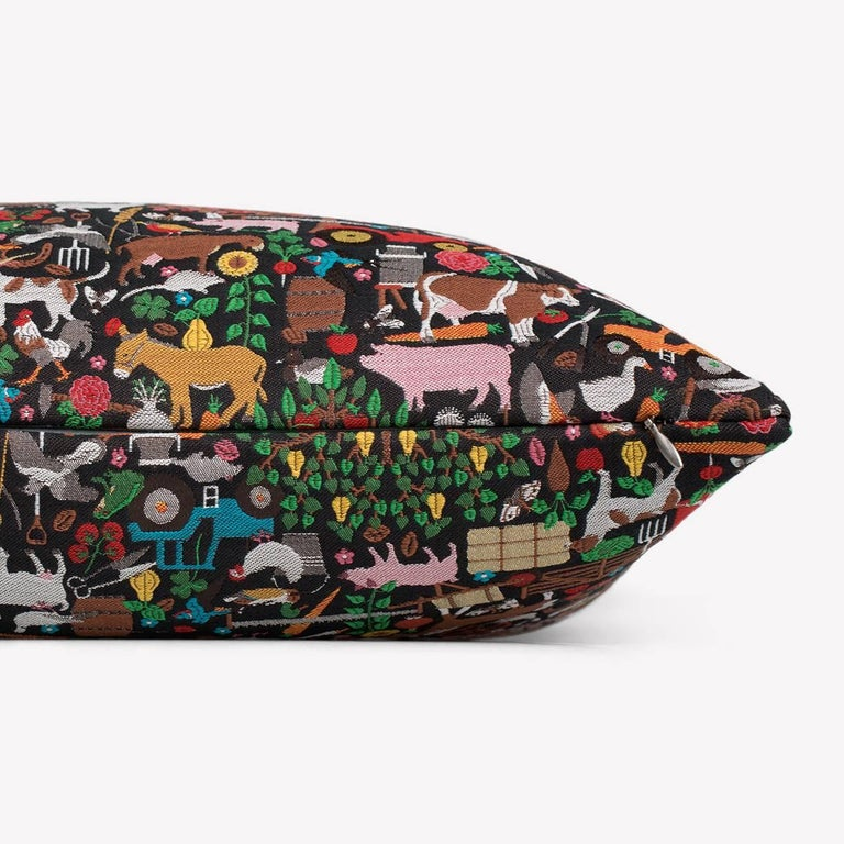 Maharam pillow Bavaria by Studio Job 001 Unique  Based on a limited-edition Studio Job collection from 2008 consisting of five pieces of Indian rosewood furniture inlaid with vivid laser-cut marquetry, Bavaria depicts traditional farmland
