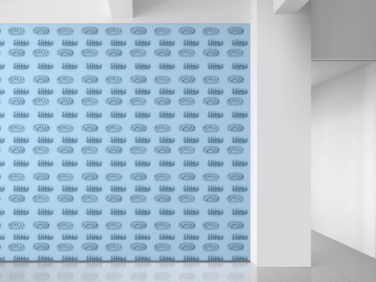 Maharam Serpentine Galleries Wallpaper Wiwa Stories by Beatriz Gonzalez in Soft Blue 001  Beatriz González is a Bogotá-based leading figure of Latin American Pop art. Exploring sociopolitical subject matter specific to Colombia's history and