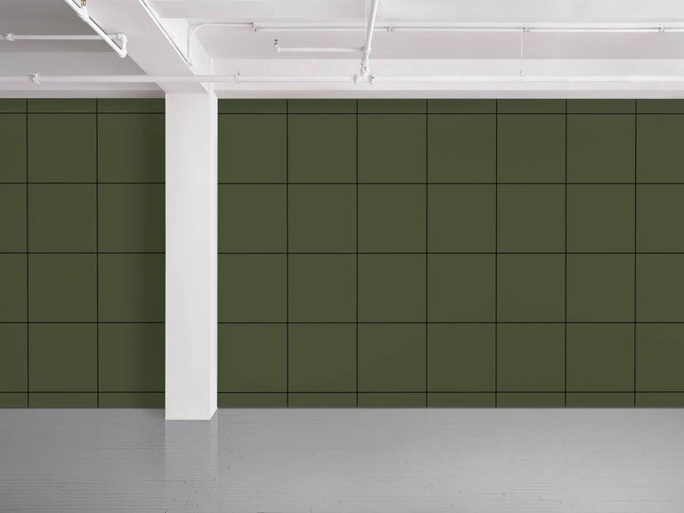 Maharam Serpentine Galleries Wallpaper Square Cutter's room by Rosemarie Trockel 002 Olive  Rosemarie Trockel is a conceptual artist based in Cologne whose work in textiles, sculpture, collage, and video examine feminine modes of production. By