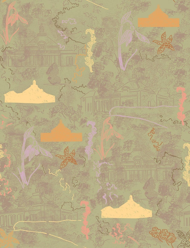 Modern Maharam Serpentine Galleries Wallpaper by Marc Camille Chaimowicz For Sale