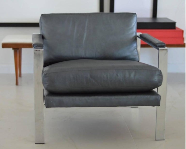 Designed in 2000, produced circa 2002 Nickel frame, steel blue leather upholstery Measures: 28
