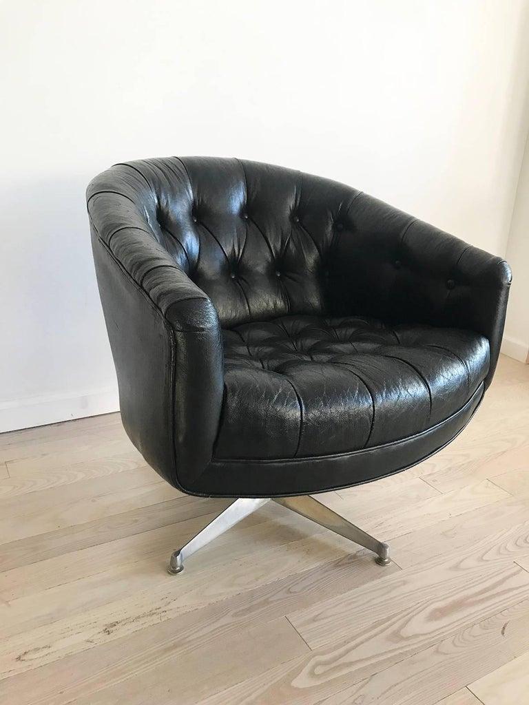 Ward Bennett Tufted Black Leather Swivel Club Chair At 1stdibs
