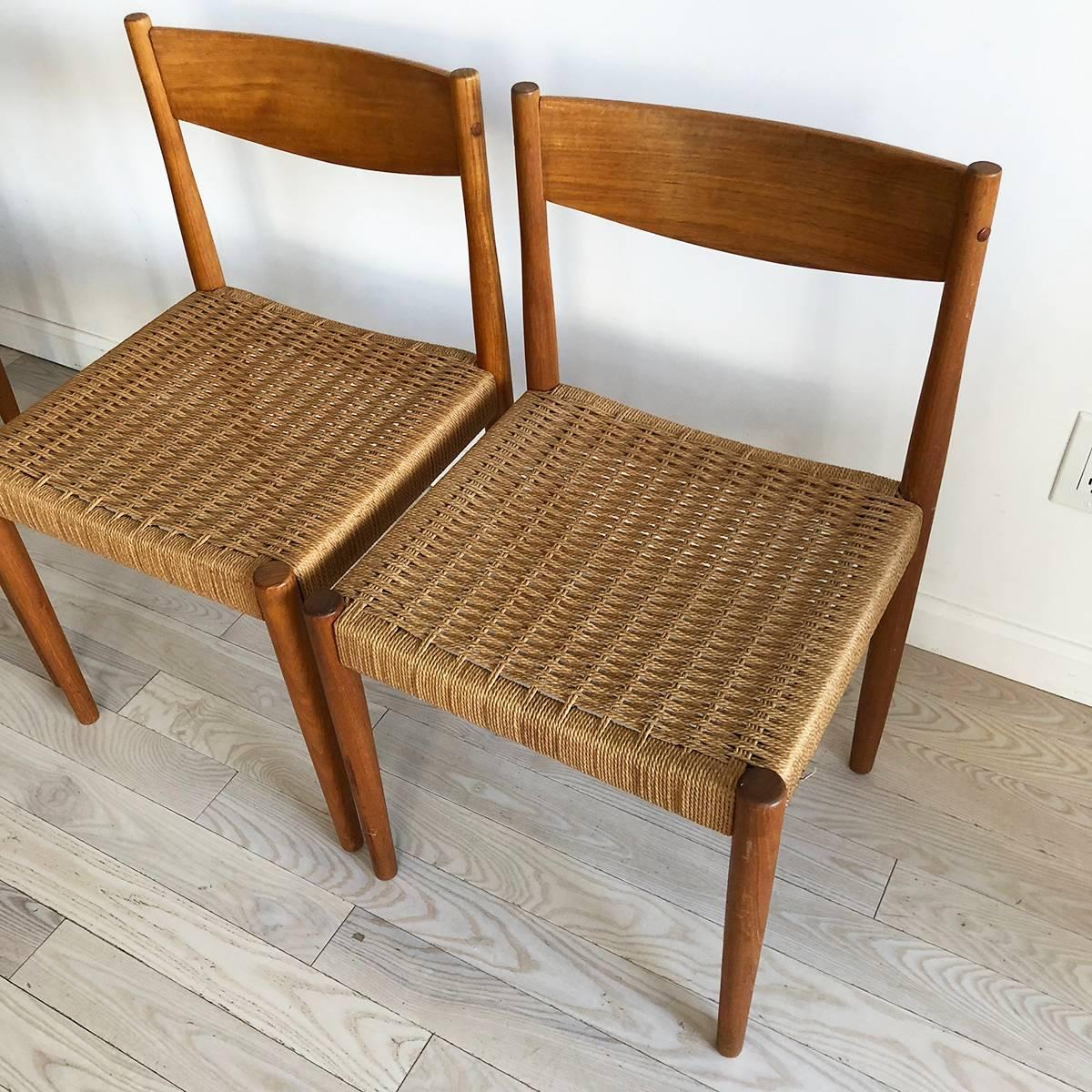 Midcentury Teak And Rope Dining Chairs, Set Of Four At 1stdibs