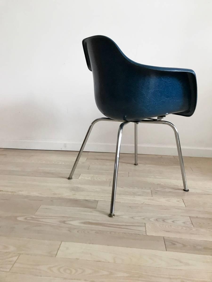 Midcentury Blue Fiberglass Shell Chair By Krueger