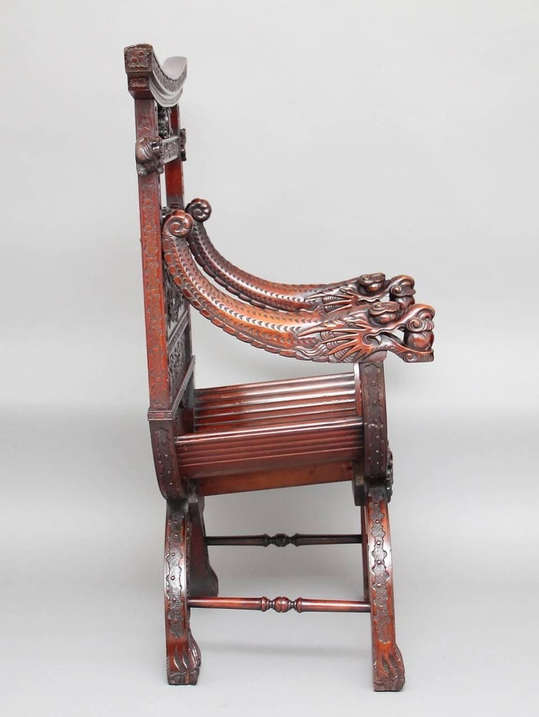 19th Century Chinese Carved Throne Chair In Good Condition For Sale In Martlesham, GB