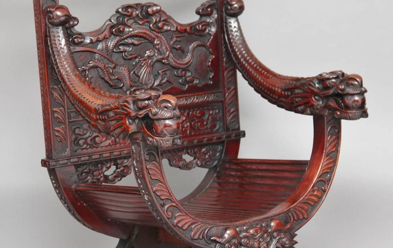19th Century Chinese Carved Throne Chair For Sale 1