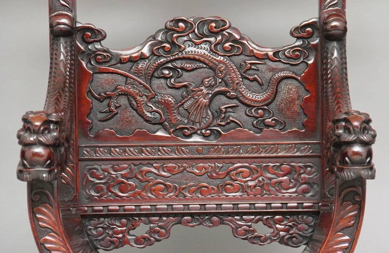 19th Century Chinese Carved Throne Chair For Sale 4