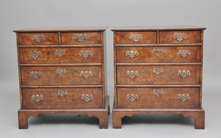 George I Pair of Burr Walnut Chest of Drawers For Sale