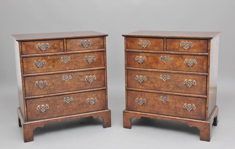 Pair of Burr Walnut Chest of Drawers For Sale 5