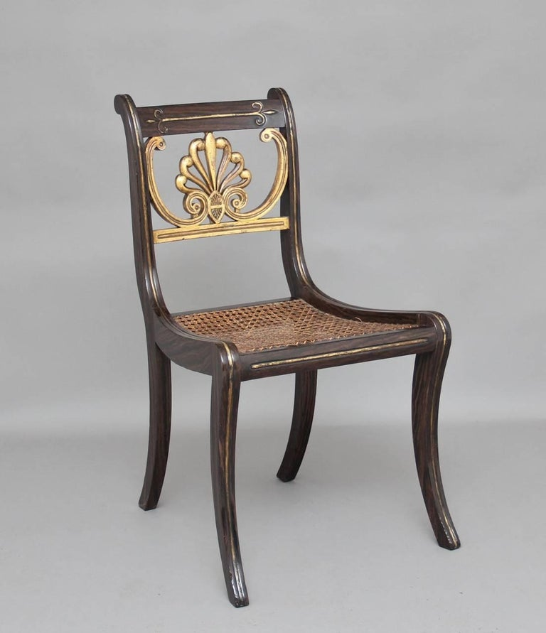 English Set of Six 19th Century Regency Chairs For Sale