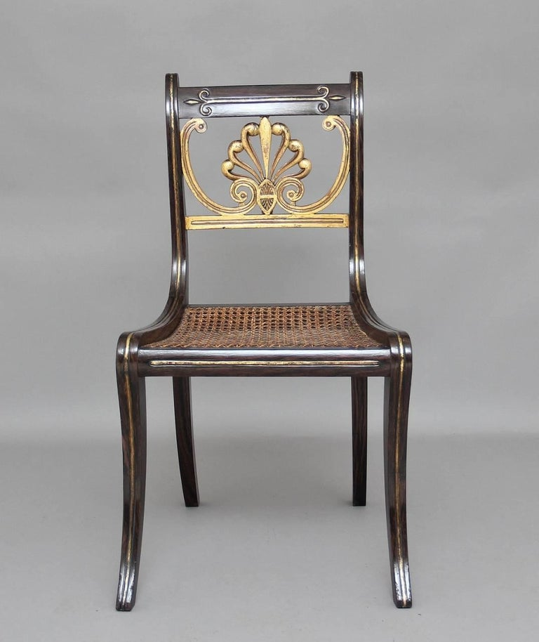 Gilt Set of Six 19th Century Regency Chairs For Sale