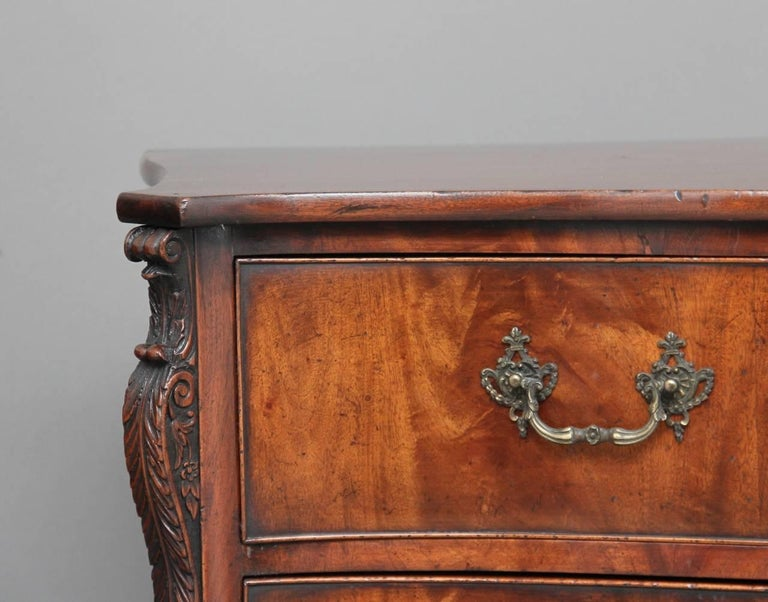 Chippendale Early 20th Century Mahogany Serpentine Commode For Sale