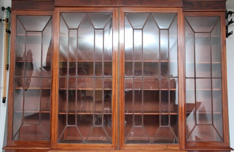 19th Century Mahogany Breakfront Bookcase In Good Condition For Sale In Martlesham, GB