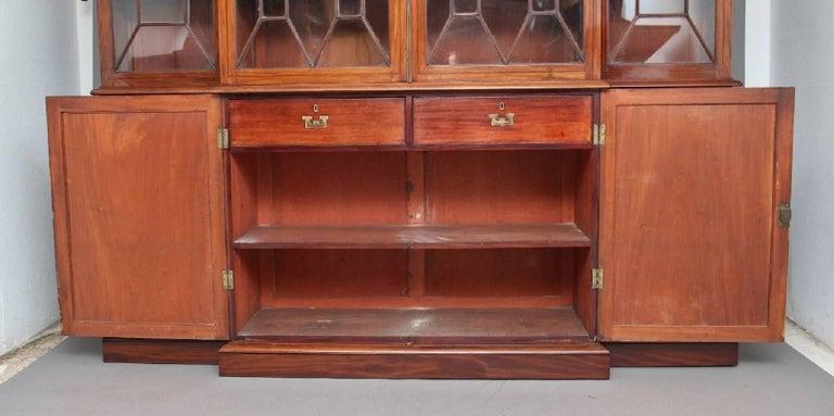 19th Century Mahogany Breakfront Bookcase For Sale 1