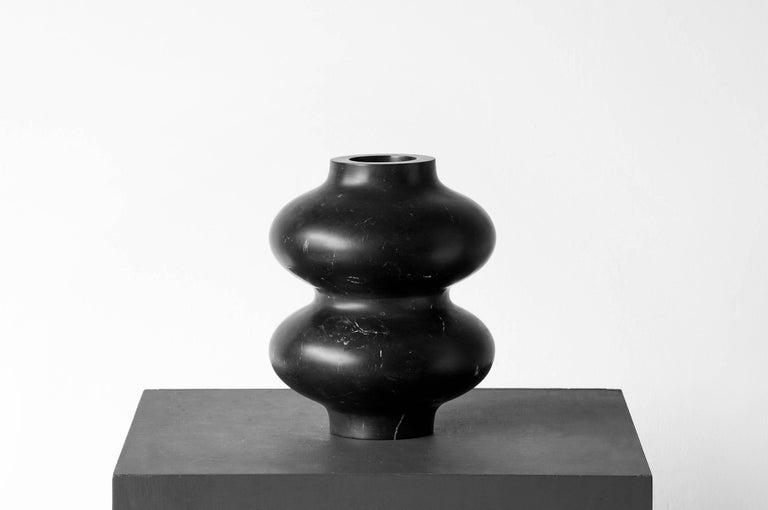 Brutalist S.R.O Rito Black Marble Vessel #6 'Small' by EWE Studio For Sale