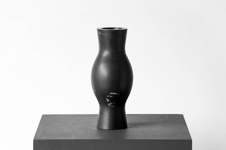 Brutalist S.O.R. Rito Black Marble Vessel #5 'Small' by EWE Studio For Sale