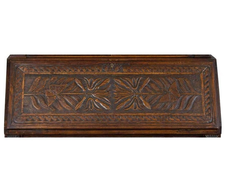 Hand-Carved Antique Victorian Bureau Bookcase For Sale