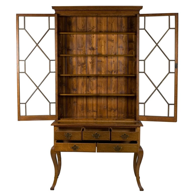 Cabriole Leg Tall Glass Door Bookcase With Drawers At 1stdibs