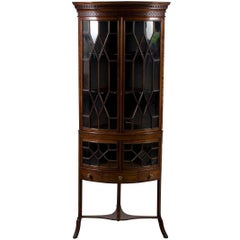 Mahogany Bow Front Corner Cabinet on Legs