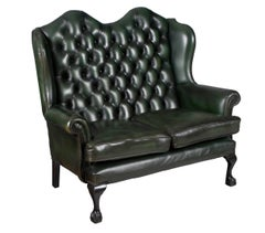 Vintage Green Tufted Leather Queen Anne Style Loveseat