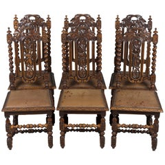 Carved Oak French Provincial Set of Six Dining Room Chairs