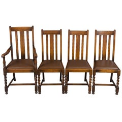 Set of Four Oak Barley Twist Dining Room or Kitchen Chairs