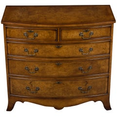 Burled Walnut Bow Front Chest of Drawers Dresser
