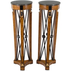 Neoclassical Pair of Marble Top Walnut Pedestals Plant Stands