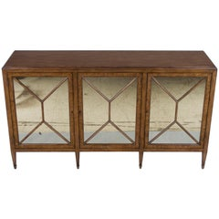 Light Mahogany Distressed Buffet Credenza Sideboard with Antiqued Mirrors