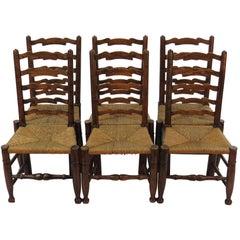 English Oak Set of Six Ladder Back Dining Kitchen Chairs