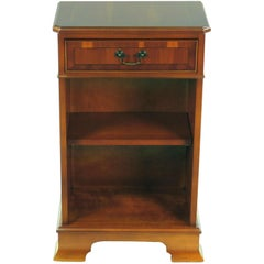 English Yew Wood Small Bedside End Table with Drawer