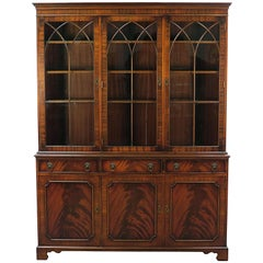English Mahogany Breakfront Bookcase with Gothic Arch Glass Doors