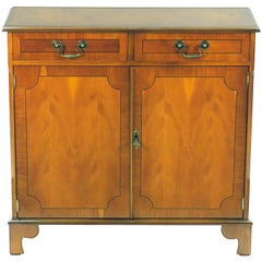 English Yew Wood Small Narrow Side Cabinet