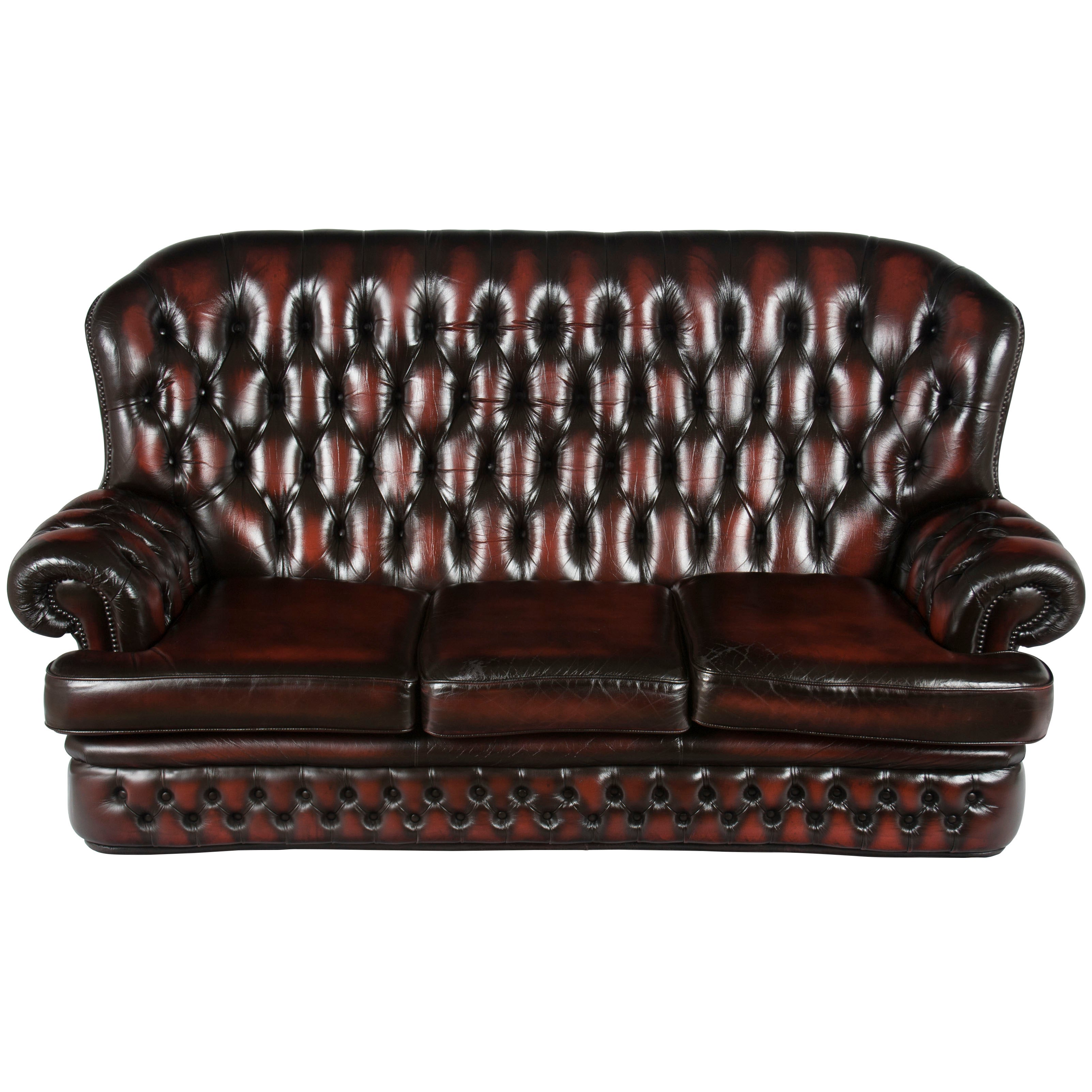 English Tufted Red Leather Tall Back Monks Style Chesterfield Sofa