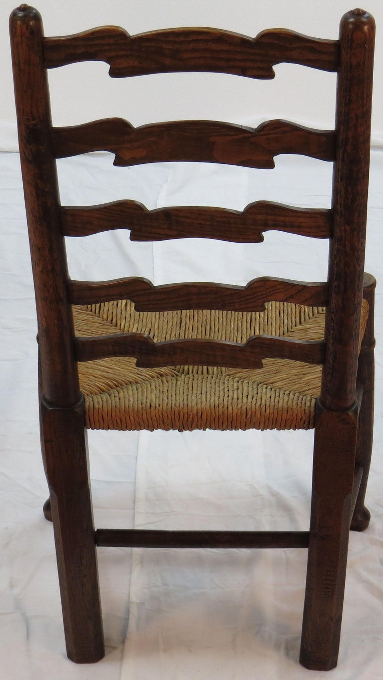 Mid-20th Century English Oak Set of Six Ladder Back Dining Kitchen Chairs For Sale