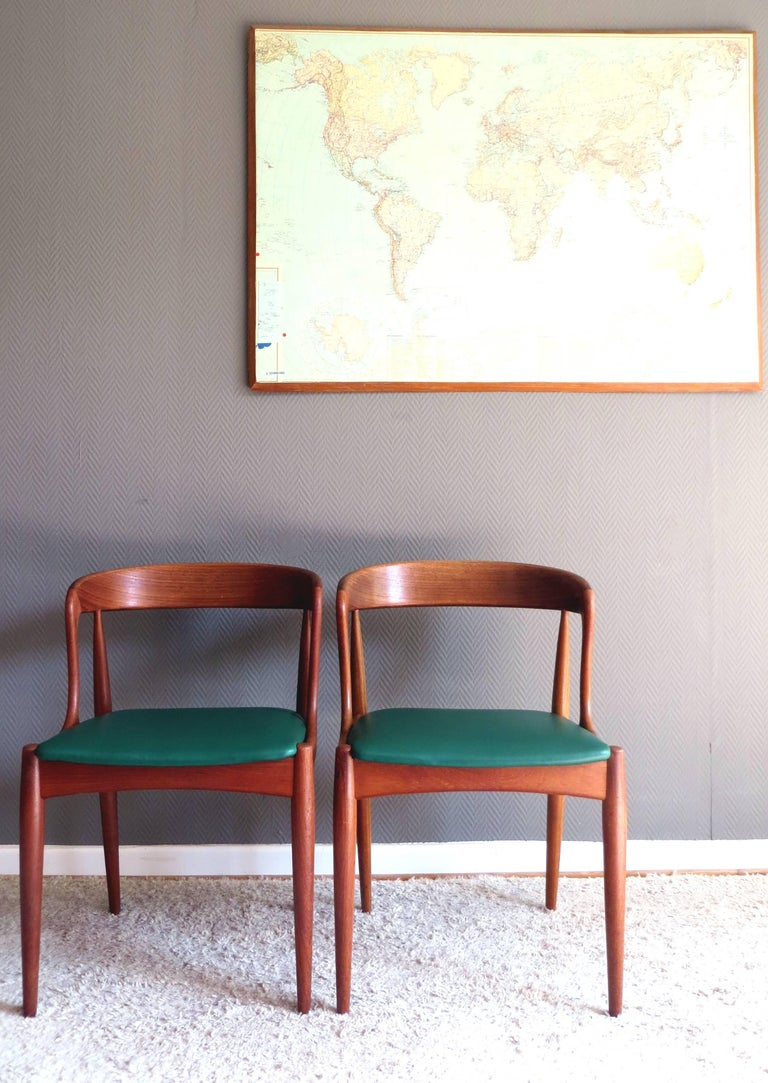 Danish Uldum Denmark Model 16 by Johannes Andersen Dining Teak Chairs ,Set of 2, 1960s For Sale