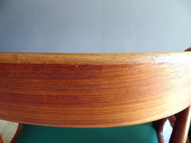 Faux Leather Uldum Denmark Model 16 by Johannes Andersen Dining Teak Chairs ,Set of 2, 1960s For Sale