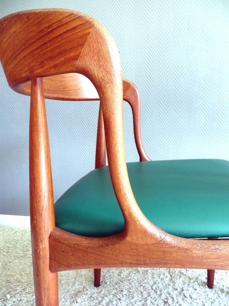 Uldum Denmark Model 16 by Johannes Andersen Dining Teak Chairs ,Set of 2, 1960s For Sale 4