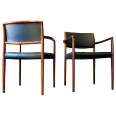 Danish Mid-Century Modern Rosewood and Leather Dining Chairs, Set of Two, 1960s