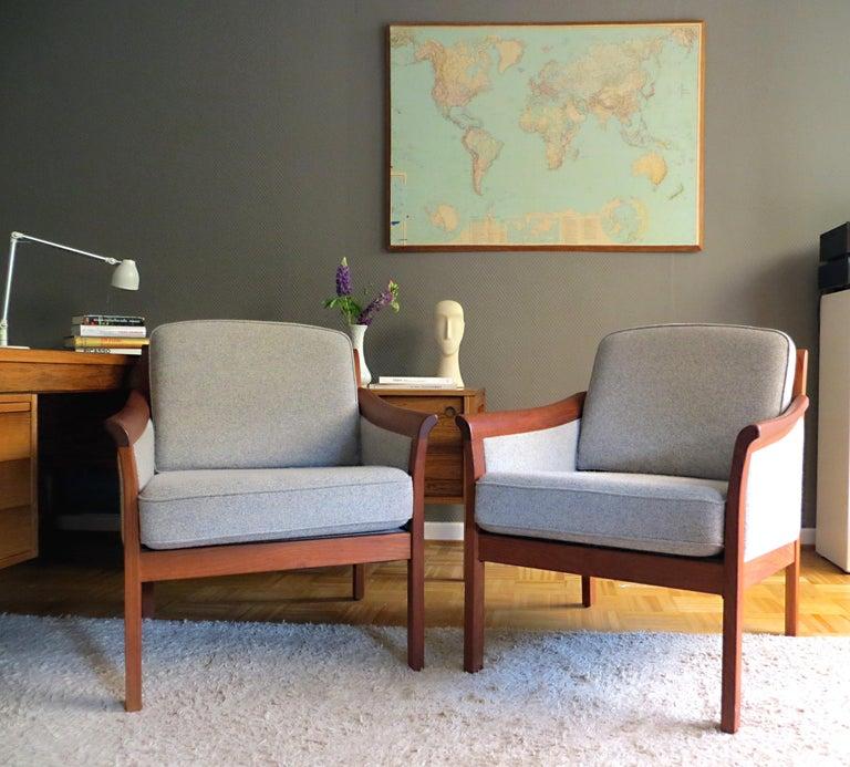 Scandinavian Modern Danish Mid-Century Modern Solid Teak & Wool Easy Chairs Set in Grey-Beige, 1960s For Sale