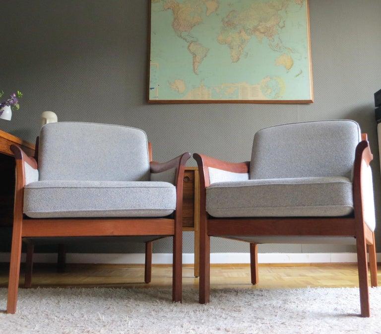 20th Century Danish Mid-Century Modern Solid Teak & Wool Easy Chairs Set in Grey-Beige, 1960s For Sale