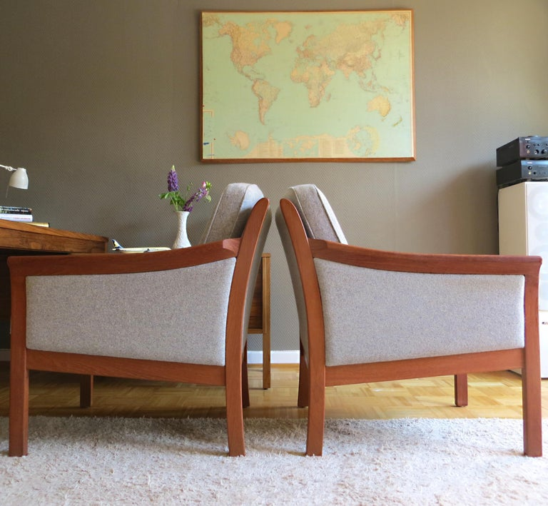 Danish Mid-Century Modern Solid Teak & Wool Easy Chairs Set in Grey-Beige, 1960s For Sale 1