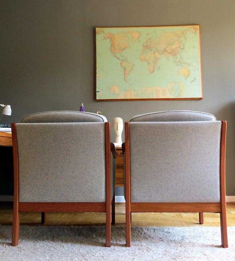 Danish Mid-Century Modern Solid Teak & Wool Easy Chairs Set in Grey-Beige, 1960s For Sale 2